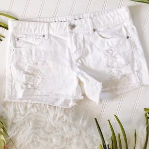 Articles of Society White Distressed Denim Shorts